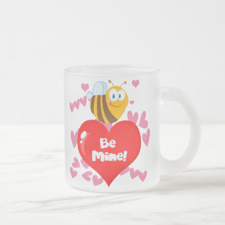Bumblebee Be Mine Valentine Frosted Glass Mug