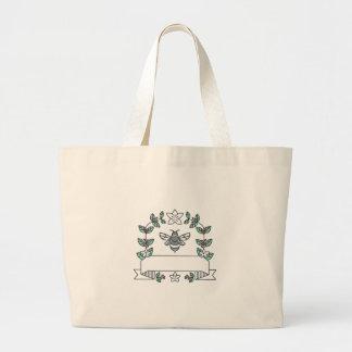 Bumblebee Coffee Leaves Cherries Flower Mono Line Large Tote Bag