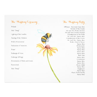 Bumblebee Daisy Watercolor Wedding Program Flyers