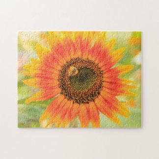 Bumblebee on sunflower, Community Garden Jigsaw Puzzle