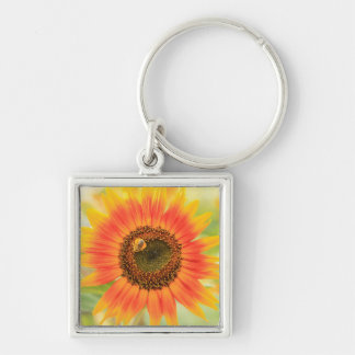 Bumblebee on sunflower, Community Garden Silver-Colored Square Key Ring