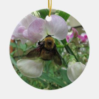 Bumblebee on Sweet Pea Christmas Ornament