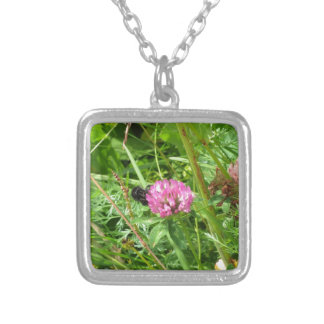 Bumblebee on wildflower square pendant necklace