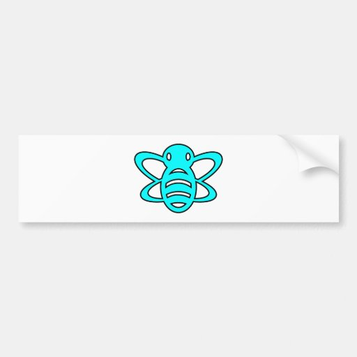 Bumblebee or Bumble Bee Honey Queen Wasp Blue Bumper Stickers