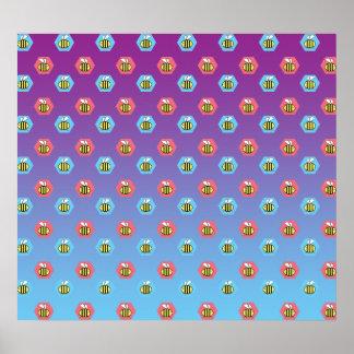 Bumblebee pattern on purple blue fade poster