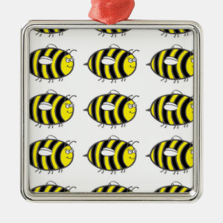 Bumblebee Silver-Colored Square Decoration