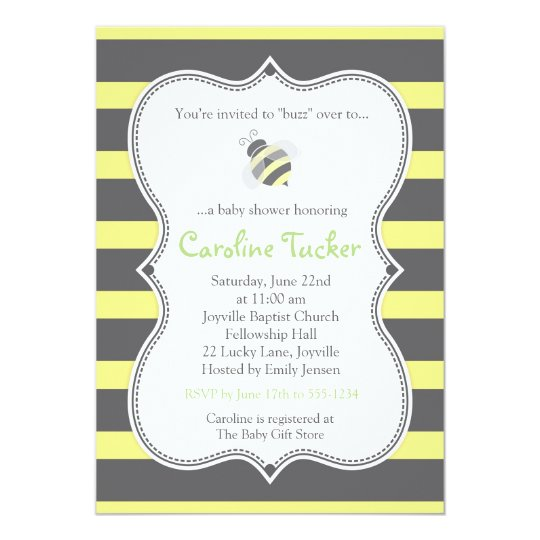 Bumblebee Stripes Baby Shower Invitation