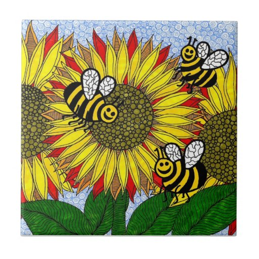 Bumblebees And Sunflowers Tile