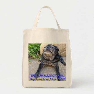 Bumblesnot totebag: Happiness is an Adopted Pet! Grocery Tote Bag