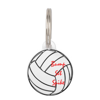 Bump Set Spike Volleyball Pet ID Tag