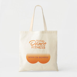 bumper bag; orange logo tote bag