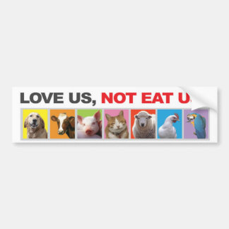 bumper, sticker,animals, vegetarian,love bumper sticker
