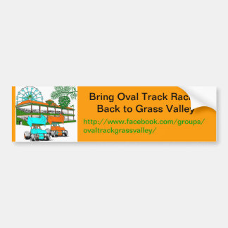 Bumper Sticker, Bring Oval Track Racing to GV Car Bumper Sticker