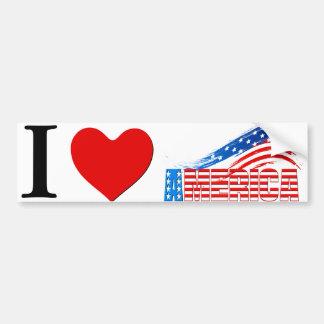 "Bumper Sticker - I (Heart) ""AMERICA"" Stars Stripes"