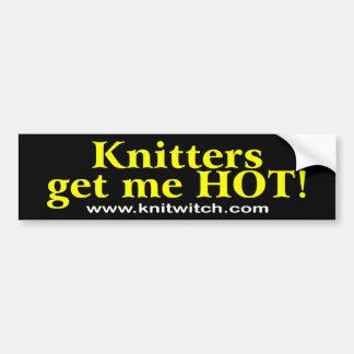 Bumper Sticker - Knitters get me HOT!