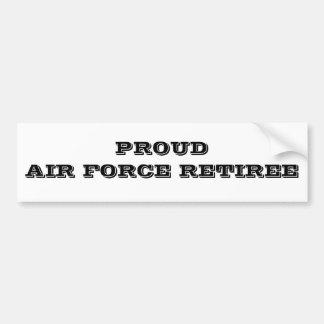Bumper Sticker Proud Air Force Retiree Car Bumper Sticker