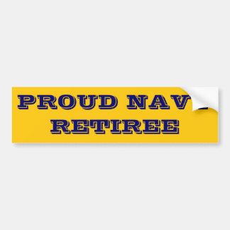 Bumper Sticker Proud Navy Retiree