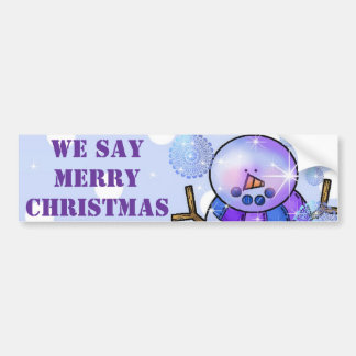 Bumper Sticker-Snowman Happy Holidays Christmas Bumper Sticker