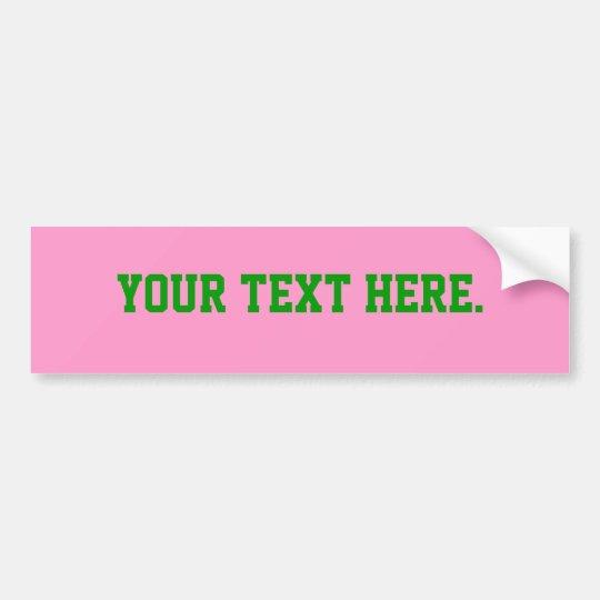 Bumper Sticker Template, Pink FF99CC Background