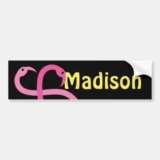 Bumper Sticker Visual Fun Madison Pink Flamingos