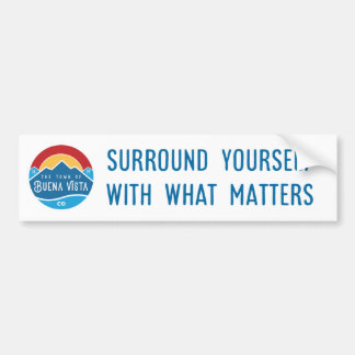 Bumper sticker with official town logo and tagline