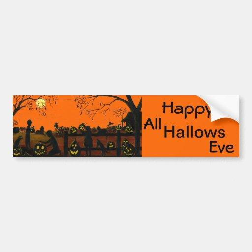 Bumper,stickers,Halloween,vintage,cat,dog,farm Bumper Stickers