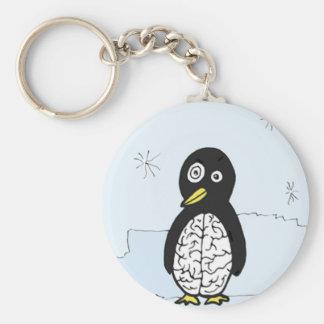 Bumpy Brains Penguin Basic Round Button Key Ring