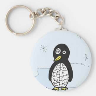 Bumpy Brains Penguin Basic Round Button Key Ring