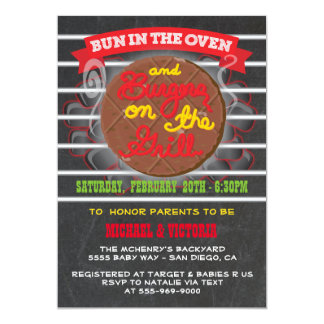 Bun in the Oven burgers on the grill Baby Shower Card