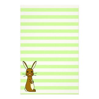 Bunbun - Cute Rabbit Green Stripes Stationery