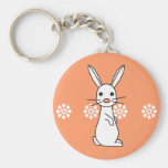 Bunbun - Cute White Rabbit Basic Round Button Key Ring