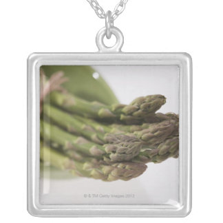Bunch of asparagus silver plated necklace