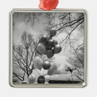 Bunch of balloons outdoors B&W low angle Christmas Ornament