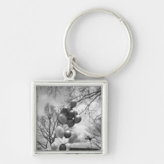 Bunch of balloons outdoors B&W low angle Key Ring