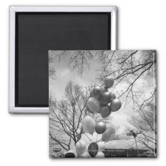 Bunch of balloons outdoors B&W low angle Magnet