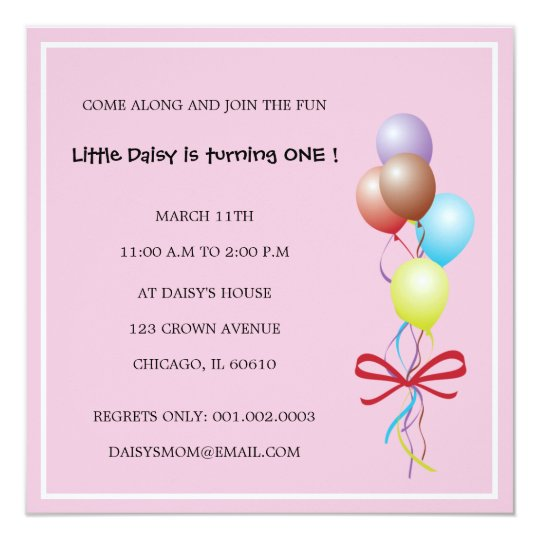 Bunch of Balloons - Pink birthday invitations