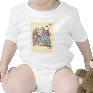 bunch of birds blue tint mosaic romper