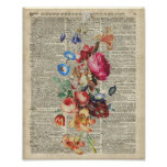 Bunch of Colourful Flowers On A Dictionary Page Poster