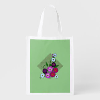 Bunch of flowers reusable grocery bag