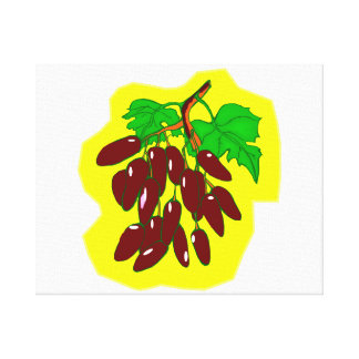 Bunch of peppers with yellow background gallery wrapped canvas