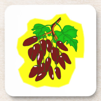 Bunch of peppers with yellow background drink coasters