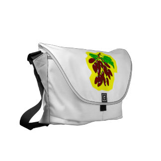 Bunch of peppers with yellow background messenger bags