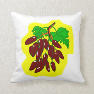 Bunch of peppers with yellow background throw cushions