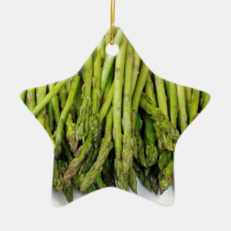 Bunch of Raw Asparagus on White Christmas Ornament