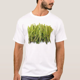 Bunch of Raw Asparagus on White T-Shirt