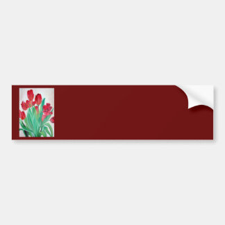 Bunch of Red Tulips Bumper Sticker