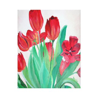 Bunch of Red Tulips Gallery Wrapped Canvas