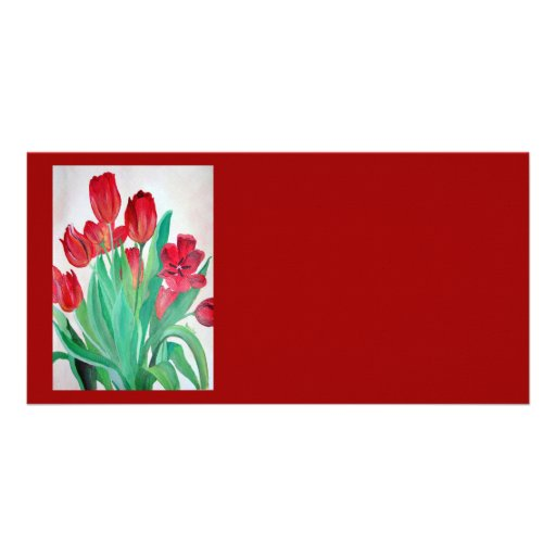 Bunch of Red Tulips Customized Photo Card