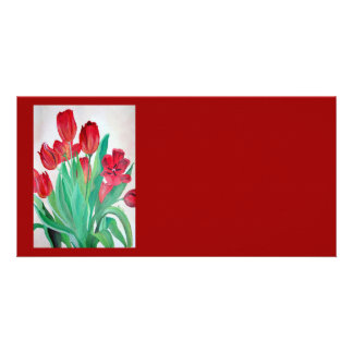 Bunch of Red Tulips Photo Card Template