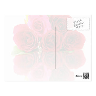 Bunch Of Rose Flowers And Their Reflection On The Postcard
